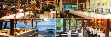 Khao Lak Merlin Resort, (clockwise from top left): Veranda Beachside Restaurant, Lobby Lounge, Tropical Garden and Beach Bar