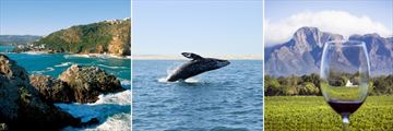 Knysna landscape, Whale watching & The Winelands