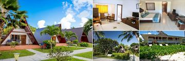 La Digue Island Lodge, (clockwise from left): Garden and Seaview Chalets, Garden Room Bedroom, Beach House Bedroom, Beach House Exterior and Garden and Seaview Chalets