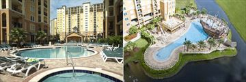 Lake Buena Vista Resort Village & Spa Resort, Pools, Aerial View Resort and Pirate Pool