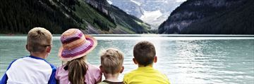 Kids overlooking Lake Louise, Alberta