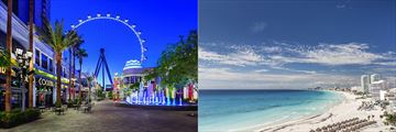 Las Vegas eye and Cancun beachfront