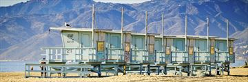 The lifeguard watchtowers on Venice Beach