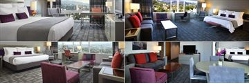 Loews Hollywood Hotel, (clockwise from top left): Capitol View King Room, Studio Suite, Corner Suite and Studio King Suite with City Views