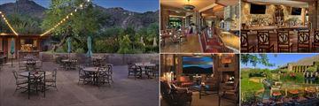 Loews Ventana Canyon Resort, (clockwise from left): Bills Grill, Flying V Bar & Grill, Flying V Bar, Flying V Bar and Grill Outdoor Deck and Flying V Lounge