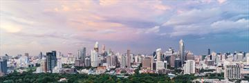A view of Bangkok's skyline and Lumpini Park