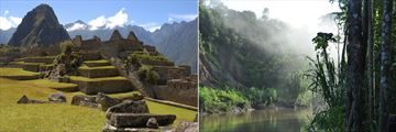 Explore Machu Picchu (left) and Tambopata River (right)
