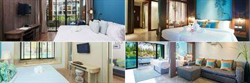 Mai Khao Lak Beach Resort & Spa, (clockwise from top left): Deluxe Suite, Deluxe Suite Premium, Deluxe Suite Pool Access and Deluxe Suite Pool Access Jacuzzi