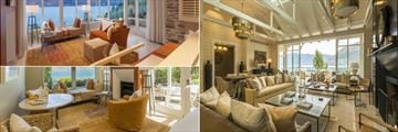 Matakauri Lodge, (clockwise from top left): Deluxe Suite Living Room, Owner's Lodge Lounge and Suite Lodge Living Room