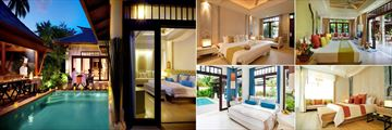 Melati Beach Resort & Spa, (clockwise from left): Pool Villa Suite, Grand Deluxe, Private Garden Pool, Pool Villa and Family Pool Villa