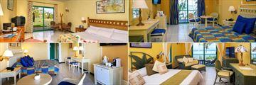 Memories Jibacoa, (clockwise from top left): Garden View Room, Standard Ocean View Room, Ocean View Suite and Standard Diamond Club Room