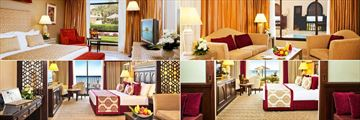 Miramar Al Aqah Beach Resort, (clockwise from top left): Al Bawadi Suite, Al Qasr Suite, Family Room and Al Dana Suite