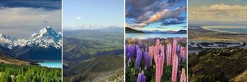 Mount Cook, Canterbury Plains, Lake Tekapo & Christchurch