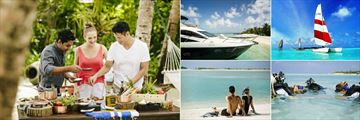"""Naladhu Private Island, (clockwise from left): Cooking Class, """"Nirvana"""" Boat Cruise, Catamaran, Scuba Diving Lesson, Snorkelers on Beach"""