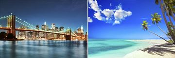 Brooklyn Bridge, New York City & Pristine Caribbean Beach