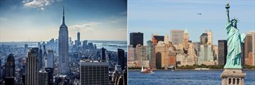 New York's Empire State Building and Statue of Liberty