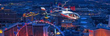 Night flight over the strip in Las Vegas