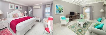 Oceanfront Deluxe Bedroom and Living Room at Sugar Bay Barbados