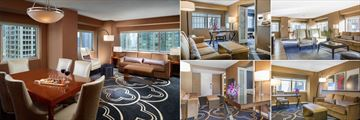 Omni Chicago Hotel, (clockwise from left): Executive Suite, Superior Corner Suite, Governors Suite, Deluxe Suite and Premium Double Suite Living Areas