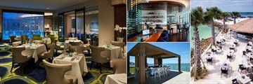 Opal Sands Resort, (clockwise from left): Sea Guini Restaurant, Bar at Sea Guini Restaurant, Sandbar and Pool Bar
