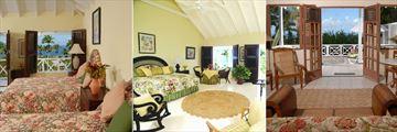 Ottley's Plantation Inn, Ocean View Room, Deluxe Room and Living Room