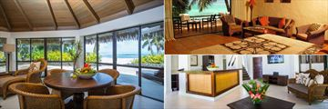 Premium Beachfront Three Bed Villa Dining, Beachfront Suite Lounge and Premium Three Bed Villa Kitchen at Pacific Resort Rarotonga