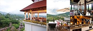 Panviman Resort Chiang Mai, (clockwise from left): Panorama Restaurant, Moon Terrace and Dining Options