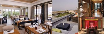 Park Hyatt Abu Dhabi Hotel & Villas, (clockwise from left): Beach House Restaurant, Beach House Rooftop Bar, The Cafe, The Park Bar and Grill