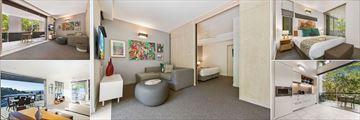 Peppers Noosa Resort & Villas, (clockwise from top left): Studio Room, 1 Bedroom Apartment, 2 Bedroom Apartment, 2 Bedroom Apartment - Kitchen, 3 Bedroom Penthouse