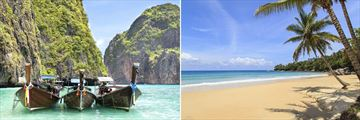 Phi Phi Island longtail boats & Karon Beach in Phuket