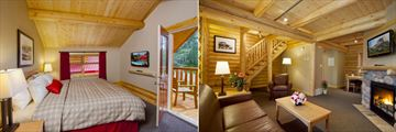 Pocahontas Cabins, Miette Executive Cabin Bedroom and Living Room