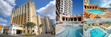 Ramada Plaza Resort & Suites International Drive, (clockwise from left): North and South Towers, Ground Floor Pools, Ground Floor Pool and Rooftop Pools