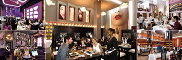 Riu Palace Bavaro, (clockwise from top left): Krystal Fusion Restaurant, Geisha Japanese Restaurant, La Bambola Italian Restaurant, Main Restaurant and Lobby Bar
