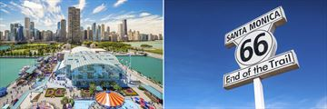 Navy Pier, Chicago (left), and Santa Monica sign (right)