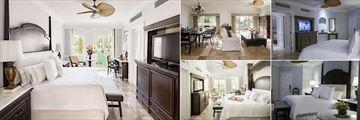 Royal Hideaway Playacar, (clockwise from left): Luxury Sunrise Room, Presidential Suite, Luxury Royal View Room, Luxury Room and Honeymoon Suite