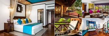 Royal Palms Beach Hotel, Kalutara, (clockwise from left): Deluxe Room, Executive Suite Balcony and Jacuzzi, Heritage Suite Lounge, Penthouse Suite and Heritage Suite Terrace