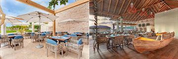 A split image. Left side is the exterior of the Beach Club Grill and the right is an interior view of Caribbean Restaurant & Grill at Royalton Antigua