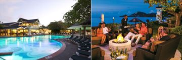 Sandals Halcyon Beach St. Lucia, Pool at Night and Beach Firepits