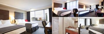 Sandman Hotel Vancouver City Centre, (clockwise from left): Standard Two Doubles, Standard Cozy Queen, Standard Two Queens, Corporate King Room with Sofa Bed and Bathroom