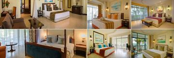 Sarova Whitesands Beach Resort & Spa, (clockwise from top left): Studio Suite, Premier Sea Facing Room, Executive Suite, Sea Facing Room, Palm Room and Presidential Suite