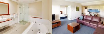 Seashells Yallingup Resort, Two Bedroom Apartment Bathroom and Living Area