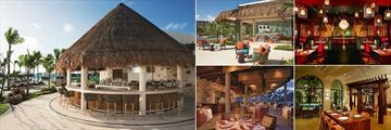 Secrets Akumal Riviera Maya, (clockwise from left): Barefoot Grill, Coco Cafe, Himitsu, El Patio and Oceana