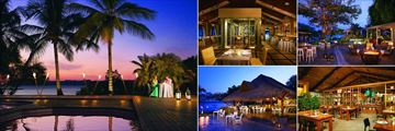 Secrets Papagayo, (clockwise from left): Romantic Dinner by the Spa Pool, Portofino Restaurant, Plaza, Market Cafe and Seaside Grill