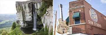 Rock City Waterfall in Chattanooga (left), and Sun Studios in Memphis (right)