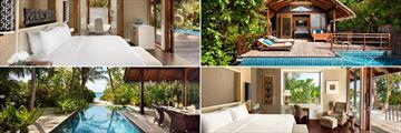 Clockwise from top left: Deluxe Pool Villa, Pool Villa, Two Bedroom Beach Villa and Beach Villa