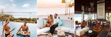 Floating breaskfast, Fashala Sunken Sand Bar, and Manzura Bar at Shangri-La Villingili Resort