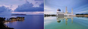 Shangri-La's Tanjung Aru Resort & Floating mosque in Kota Kinabulu