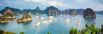 Ships anchored in Halong Bay