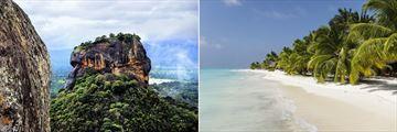 Sigiriya Rock, Sri Lanka & Meeru Island beach, Maldives