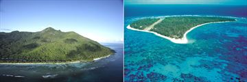 Aerial views of Silhouette Island and Denis Island